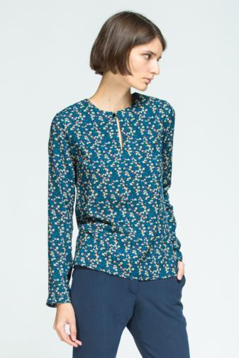 bluză cu imprimeu floral și guler rotund marca grass doar la pickandkeep