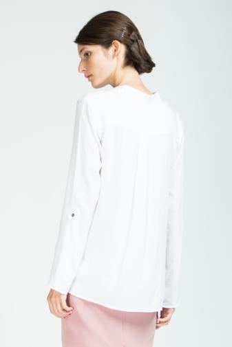 bluză albă cu guler în V și fermoar decorativ marca grass