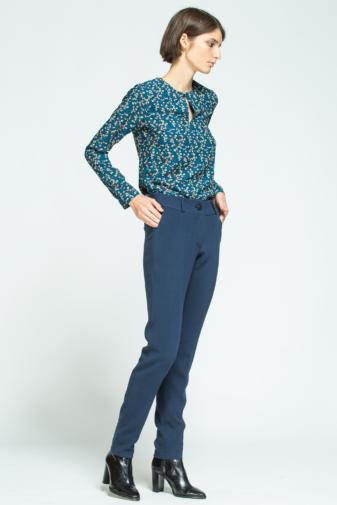 pantaloni de costum albaștri din bumbac marca grass doar la pickandkeep